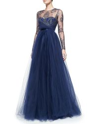 Notte By Marchesa Long-sleeve Illusion Full-skirt Gown - Lyst