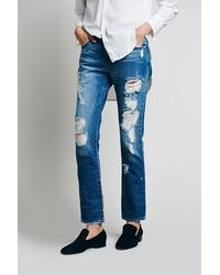Free People Destroyed Relaxed Straight Leg - Lyst