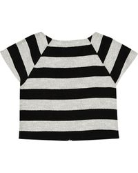 Alice + Olivia Cropped Striped Cotton-blend Top - Lyst