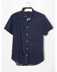 Gap Seersucker Polka Dot Shirt blue - Lyst