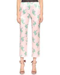 Nina Ricci Printed Pants Rose Pale Vert - Lyst