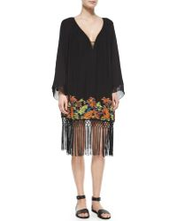 French Connection Seychelle Embroidered Drape Dress - Lyst