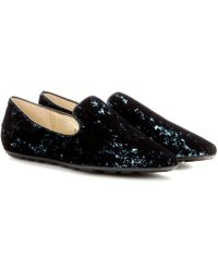 Jimmy Choo Wheel Velvet and Sequin Slippers - Lyst