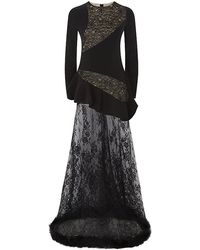Alessandra Rich Long Sleeved Peplum Lace Gown - Lyst