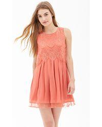 Forever 21 Eyelash Lace Pleated Dress - Lyst