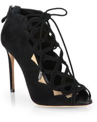 Alexandre Birman Suede Lace-Up Cage Sandals - Lyst