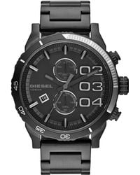 Diesel Mens Chronograph Double Down 20 Black Ion-plated Stainless Steel Bracelet Watch 59x48mm - Lyst