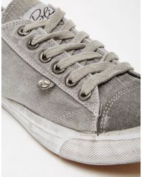 Bronx - Washed Canvas Plimsolls In Grey - Lyst