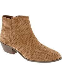 Old Navy Perforated Fauxsuede Ankle Boots - Lyst
