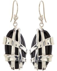 Slane - Crescent Weave Black Onyx & Diamond Earrings - Lyst