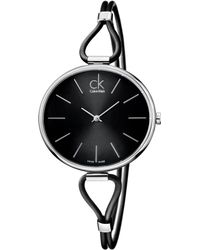 Calvin Klein Women'S Swiss Selection Black Leather Cord Strap 38Mm K3V231C1 - Lyst