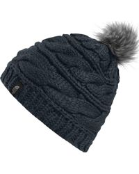 d64d6670f2e Lyst - The North Face Triple Cable Fur Pom Beanie in Gray