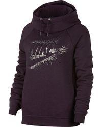 Nike | Sportswear Rally Metallic Funnel Neck Graphic Hoodie | Lyst