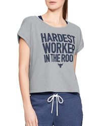 fd864a8b326 Under Armour - Project Rock Cropped Hardest Worker Graphic T-shirt - Lyst