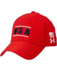 c841bf1603e Lyst - Under Armour Armourvent Usa Stretch Fit Hat in White for Men