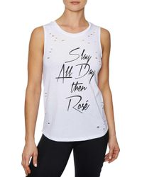 Betsey Johnson - 'slay All Day Then Rose' Distressed Muscle Tank Top - Lyst
