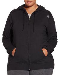 Reebok - Plus Size Core Cotton Jersey Zip Front Hoodie - Lyst