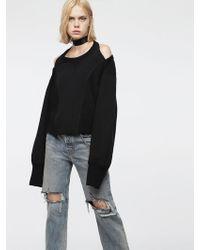 DIESEL - Cotton Sweatshirt With Satin Panels - Lyst