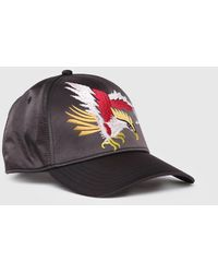 DIESEL - Satin Cap With Eagle Embroidery - Lyst