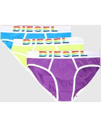 DIESEL - 3 Pack Briefs With Rainbow-hued Logo - Lyst