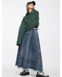 DIESEL - Long Denim Skirt With Frayed Finish - Lyst