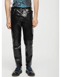 DIESEL - Pants With Contrasting Leather Detail - Lyst