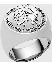 DIESEL - Stainless Steel Ring - Lyst