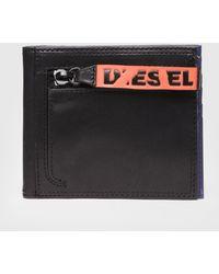 DIESEL - Bi-fold Leather Wallet With Logo Zip - Lyst