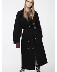 DIESEL - Double-breasted Wool Coat With Patches - Lyst