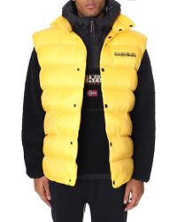 Napapijri - Akke Oversized Vest With Back Logo In Yellow - Lyst