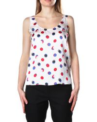 Armani Jeans - Women's Spotted Sleeveless Top White Milk - Lyst