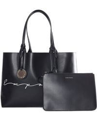 2e5cf2e08919 Emporio Armani - Women s Reversible Signature Shopping Bag Black silver -  Lyst