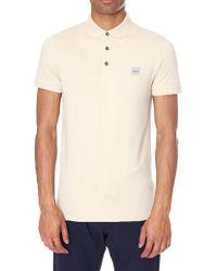 BOSS Orange - Men's Slim Fit Short Sleeve Polo Top Open Beige - Lyst