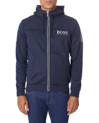 BOSS Green - Saggy Zip Through Hooded Sweat Top - Lyst