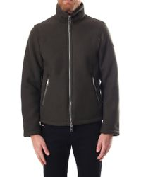 Armani Jeans - Zip Through Men's Shearling Bomber Jacket Dark Green - Lyst