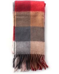 Barbour - Large Tattersall Men's Wool Scarf Red - Lyst