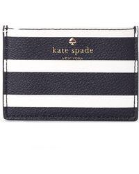 Kate Spade - Women's Hyde Lane Stripe Card Holder Black/cream - Lyst