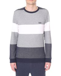 BOSS Black - 'nautical' Block Stripe Crew Neck Sweat Top - Lyst