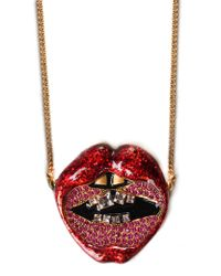 Marc Jacobs - Lips In Lips Women's Pendant Necklace Red Multi - Lyst