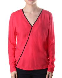 Armani Jeans - Crossover Trim Women's Long Sleeve Top Red - Lyst