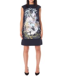 BOSS Orange - Women's Printed Neoprene Sleeveless Dress Dark Blue - Lyst