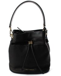 b56424bd74606d Ted Baker - Kashia Stab Stitch Women s Leather Bucket Bag Black - Lyst