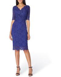 Tahari - Sparkle Lace Surplice Dress - Lyst