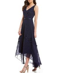 Karl Lagerfeld | V Neck Floral Applique Gown | Lyst