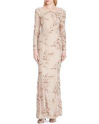 Lauren by Ralph Lauren - Floral Sequin Lace Long Sleeve Sheath Gown - Lyst