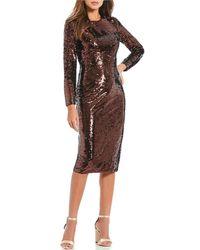 f5862e3a09d Lyst - Gianni Bini Deanna Sequin Velvet Dress in Black