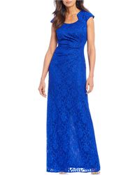 e3bec1eb16 Tahari - Petite Size Cap Sleeve Glitter Lace Column Gown - Lyst