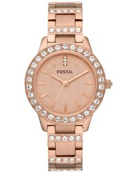 Fossil - Jessie Rose Goldtone Glitz 3 Hand Stainless Steel Bracelet Watch - Lyst