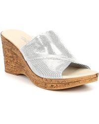 c58458f63c8 Onex - Christina 2 Shimmer Cork Wedge Slide Sandals - Lyst