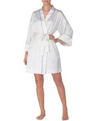 Lauren by Ralph Lauren - Dot Print Matte Satin Wrap Kimono Robe - Lyst